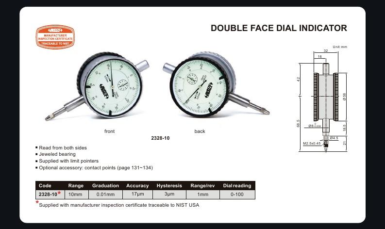 DOUBLE FACE DIAL INDICATOR | 10mm x 0.1mm | INSIZE 2328-10
