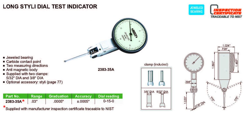 Insize 2383-08A<Br> 0.8Mm Range Dial Test Indicator With Long Styli