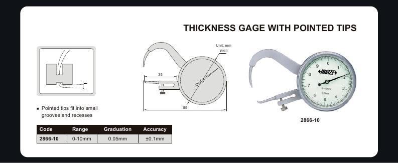 THICKNESS GAUGE | 0 - 10mm x 0.05mm | Pointed Tips | INSIZE 2866-10