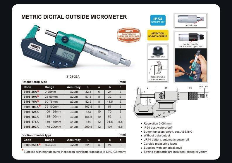 DIGITAL OUTSIDE MICROMETER - INSIZE 3108-125A 100-125mm