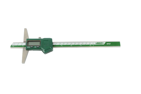 "INSIZE 1149-200 <br>0 - 200MM/0 - 8"" COOLANT PROOF DIGITAL DEPTH GAUGE"
