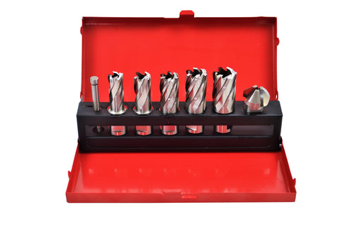 HSS 7PC ANNULAR CUTTER KIT WITH COUNTERSINK (25MM D.O.C)
