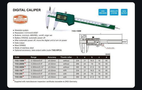 "INSIZE 1103-300<br> 0 - 300MM/0 - 12"" DIGITAL CALIPER"