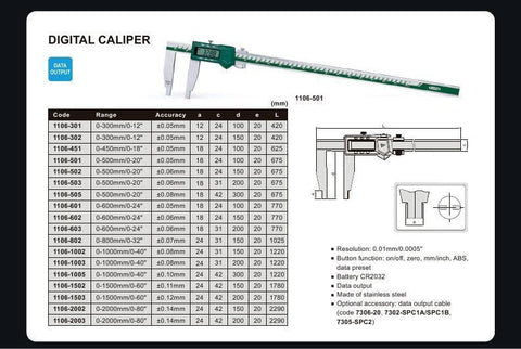 "INSIZE 1106-1502 <br>0 - 1500MM/0 - 60"" DIGITAL CALIPER"