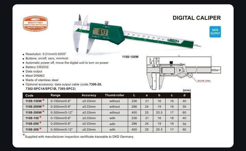 "INSIZE 1108-200 <br>0 - 200MM/0 - 8"" DIGITAL CALIPERS"