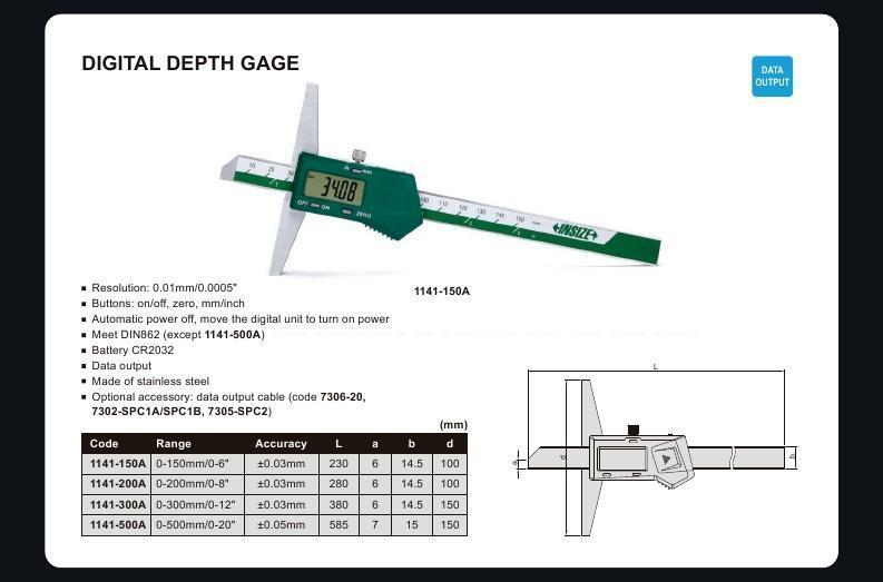 "Insize 1141-500A<Br> 0 - 500Mm/0 - 20"" Digital Depth Gauge"