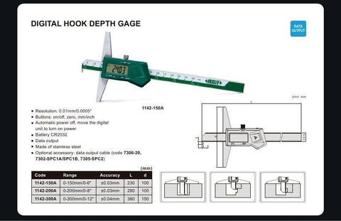 "INSIZE 1142-200A<br>  0 - 200MM/0 - 8"" DIGITAL HOOK DEPTH GAUGE"