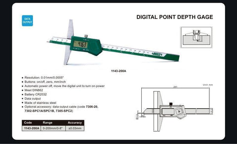 "INSIZE 1143-200A<br> 0 - 200MM/0 - 8"" DIGITAL POINT DEPTH GAUGE"
