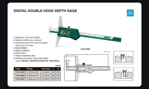 "INSIZE 1144-300A<br> 0 - 300MM/0 - 12"" DIGITAL DOUBLE HOOK DEPTH GAUGE"
