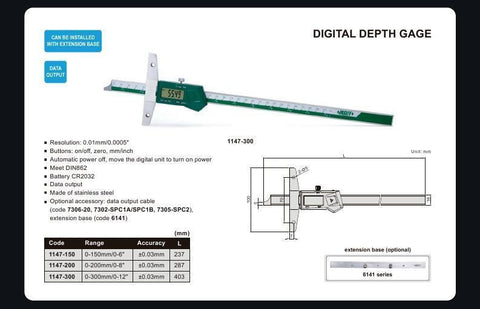 "INSIZE 1147-150 <br> 0 - 150MM/0 - 6"" DIGITAL DEPTH GAUGE"