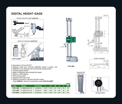 "INSIZE 1151-300<br> 0 - 300MM/0 - 12"" DIGITAL HEIGHT GAUGE"
