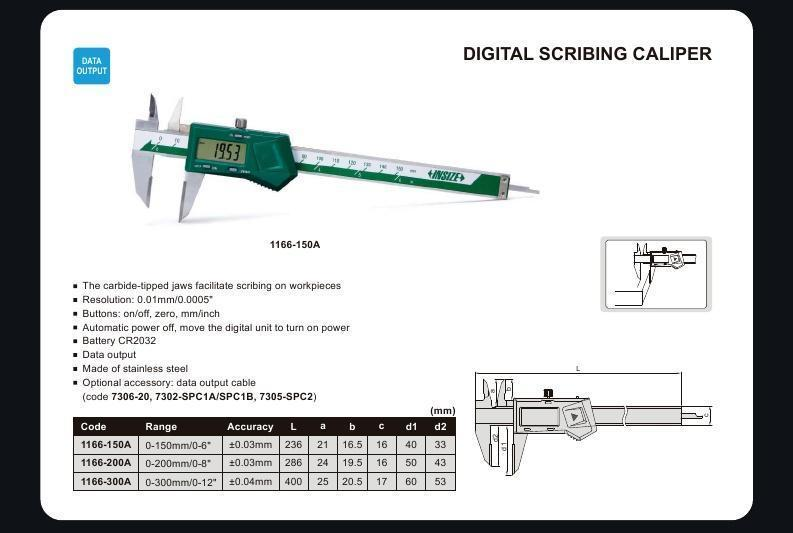 DIGITAL SCRIBING CALIPER - INSIZE 1166-150A 0-150mm / 0-6""