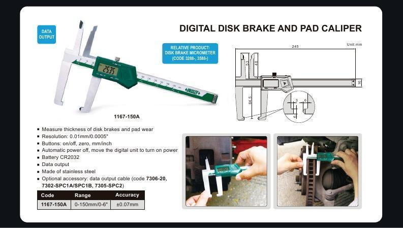 DIGITAL DISC BRAKE & PAD CALIPER - INSIZE 1167-150A 0-150mm / 0-6""