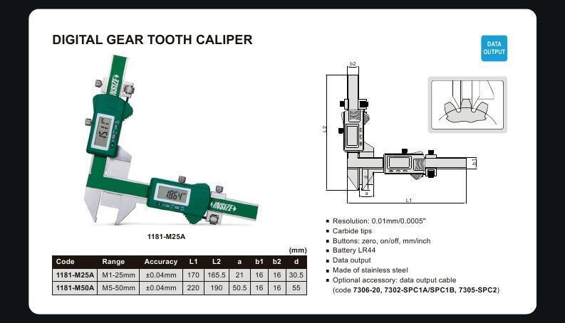 DIGITAL GEAR TOOTH CALIPER - INSIZE 1181-M50A 5-50mm