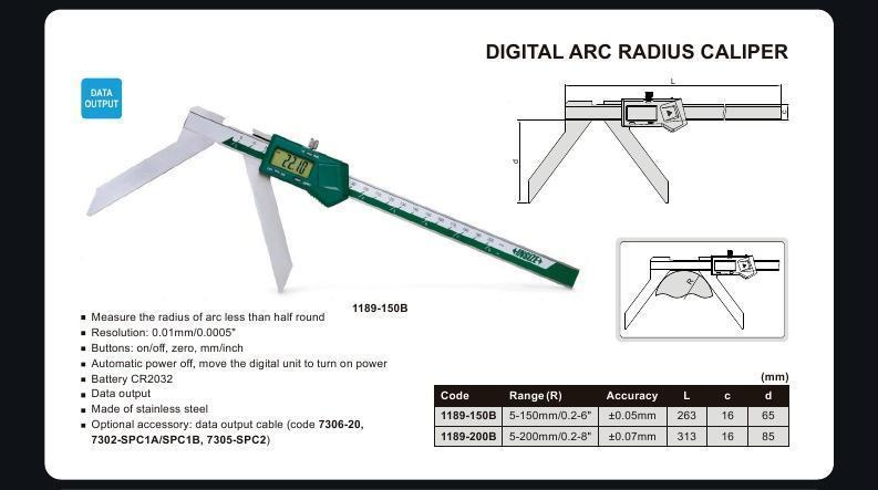 DIGITAL ARC RADIUS CALIPER - INSIZE 1189-150B 5-150mm / 0.2-6""