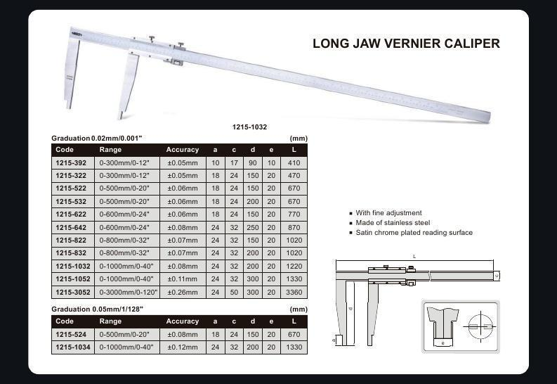 LONG JAW VERNIER CALIPER - INSIZE 1215-642 0-600mm / 0-24""