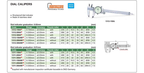 INSIZE 1311-150A<br> 0 - 150MM DIAL CALIPER (METRIC ONLY)