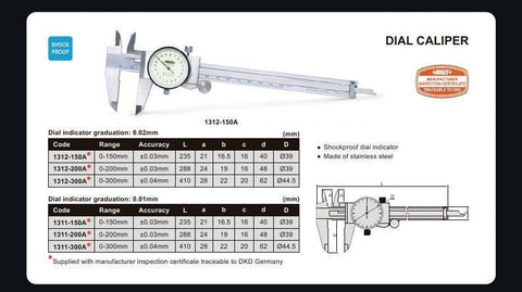 INSIZE 1312-200A<br> 0 - 200MM DIAL CALIPER (METRIC ONLY)