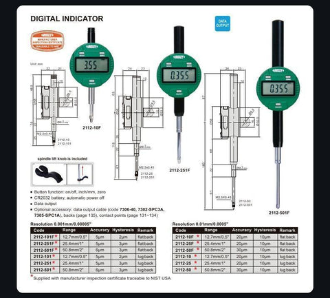 "INSIZE 2112-101 <br> 12.7MM/0.5"" DIGITAL INDICATOR, LUG BACK, HIGH ACCURACY"