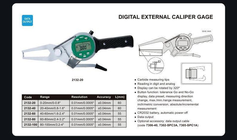 "INSIZE 2132-40<br> 20 - 40/0.8 - 1.6"" DIGITAL EXTERNAL CALIPER GAUGE"