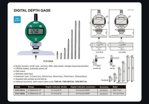 INSIZE 2141-202A<br> 0 - 300MM/0-12 DIGITAL DEPTH GAUGE LONG BASE STYLE