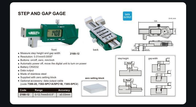 "Insize 2168-12 <Br> 0 - 12.7/0 - 0.5"" Step & Gap Gauge"