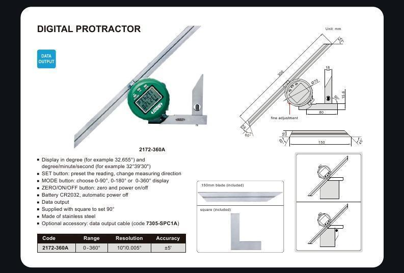 Insize 2172-360 <Br> 0 - 360 Degree Digital Protractor