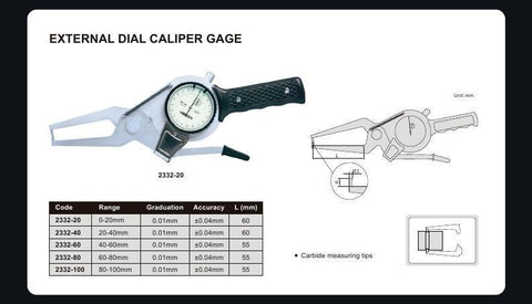 INSIZE 2332-20<br> 0 - 20MM EXTERNAL DIAL CALIPER GAUGE
