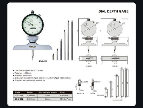 INSIZE 2342-202<br> 0 - 300MM DIAL DEPTH GAUGE