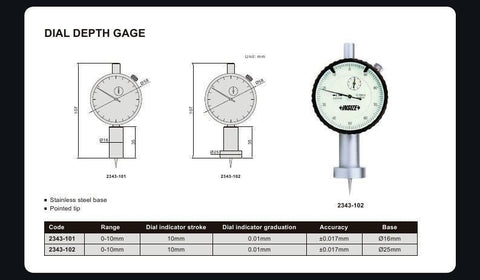 INSIZE 2343-101<br> 0 - 10MM DIAL DEPTH GAUGE