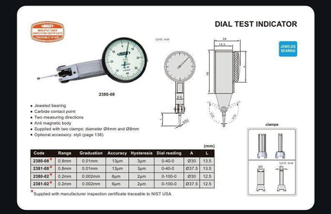 INSIZE 2380-08<br> 0.8MM RANGE DIAL TEST INDICATOR