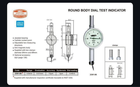 INSIZE 2391-08 <br> 0.8MM ROUND BODY TEST INDICATOR