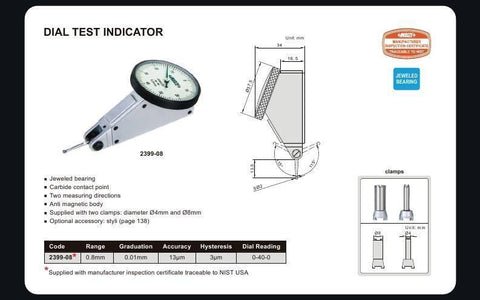 INSIZE 2399-08<br> 0.8MM RANGE DIAL TEST INDICATOR