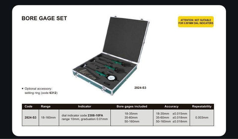 INSIZE 2824-S3<br> 18 - 160MM BORE GAUGE SET