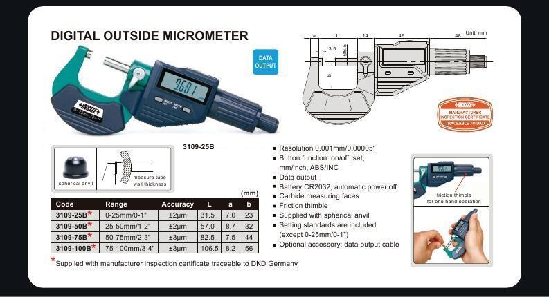 DIGITAL OUTSIDE MICROMETER - Insize 3109-50A 25-50mm / 1-2""