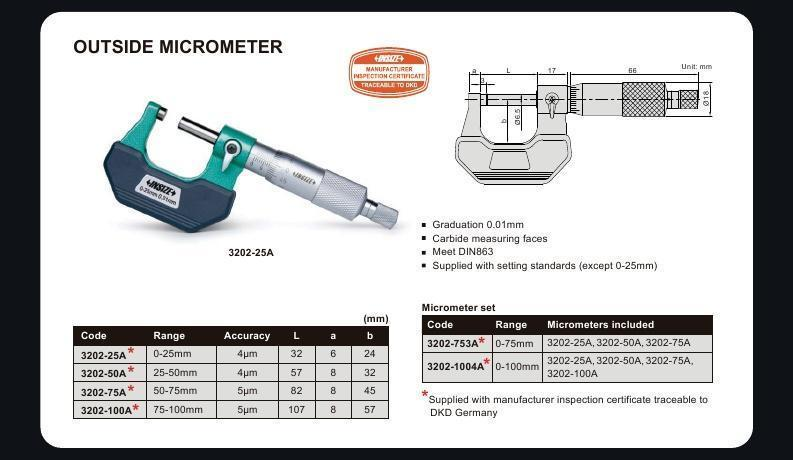 OUTSIDE MICROMETER - Insize 3202-25A 0-25mm