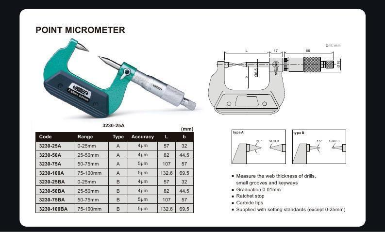 POINT MICROMETER - INSIZE 3230-50BA 25-50mm