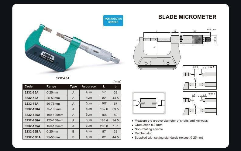 BLADE MICROMETER | 25 - 50mm x 0.01mm | INSIZE 3232-50A