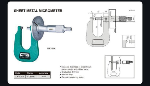 INSIZE 3263-25A <br>0 - 25MM SHEET METAL MICROMETER