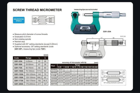 INSIZE 3281-200A<br> 175 - 200MM SCREW THREAD MICROMETER (TIPS NOT INCLUDED)