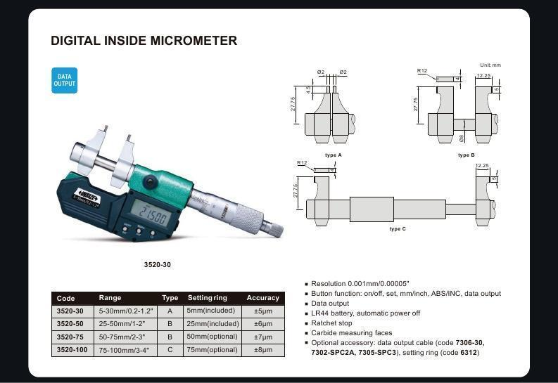 DIGITAL INSIDE MICROMETER - INSIZE 3520-30 5-30mm / 0.2-1.2""