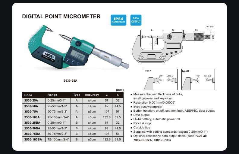 DIGITAL POINT MICROMETER - INSIZE 3530-25BA 0-25mm / 0-1""