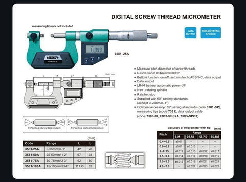 "INSIZE 3581-75A <br> 50 - 75MM/2 - 3"" DIGITAL SCREW THREAD MICROMETER"
