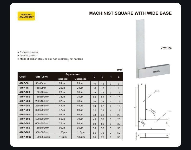 MACHINIST SQUARE - INSIZE 4707-75 75X50mm
