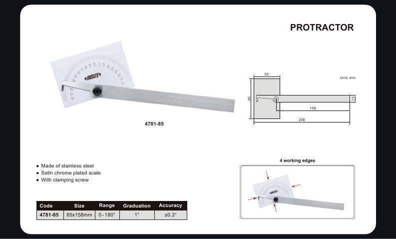 180 DEGREE PROTRACTOR - INSIZE 4781-85