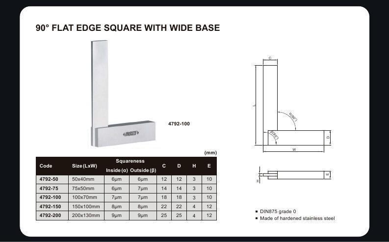 90 DEGREE FLAT EDGE SQUARE - INSIZE 4792-100 100X70mm