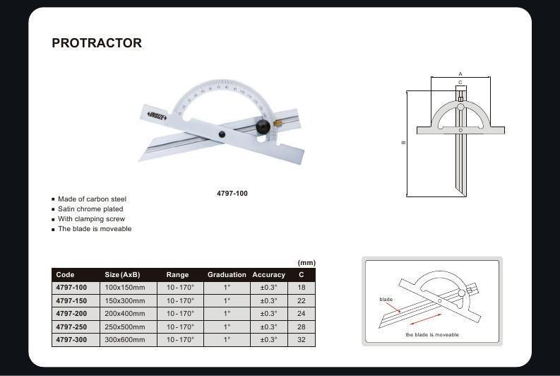 170 DEGREE PROTRACTOR - INSIZE 4797-100