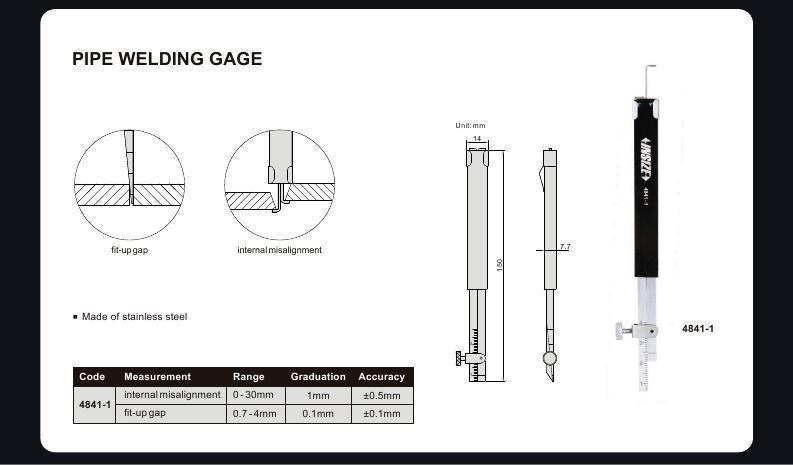 PIPE WELDING GAUGE - INSIZE 4841-1