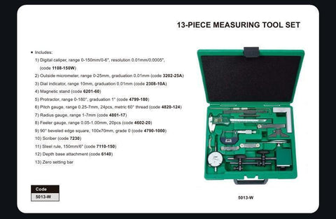 INSIZE 5013<br> 13 PC MEASURING TOOL SET