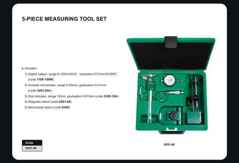 INSIZE 5051<br> 5PC MEASURING TOOL SET